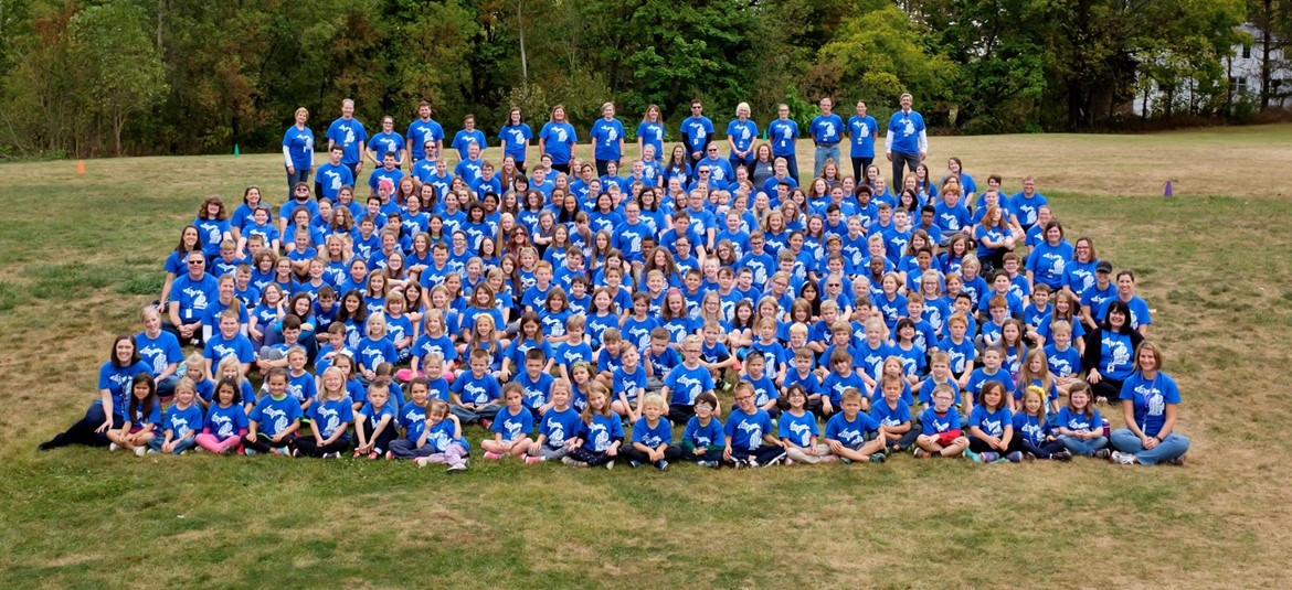 Large group photo of students and staff at 2017 Byron Center Charter School walk-a-thon